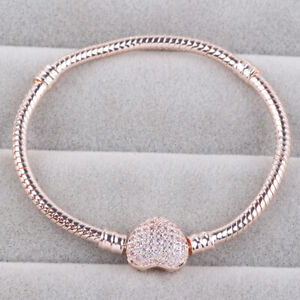Pandora Rose Gold Silver Chain Bracelet with HEART CLASP Charm Snake