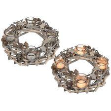 Adventskranz für Teelichter aus Echtholz Sterne Silber Glitzer Ø 30cm NEU/OVP