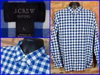 J.CREW Blue White Check Plaid L/S Btn Down OXFORD Dress Shirt For Work Mens Lg