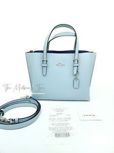NWT Coach Mollie Tote 25 in Double Face Crossgrain Leather Sky Blue C4084 $328