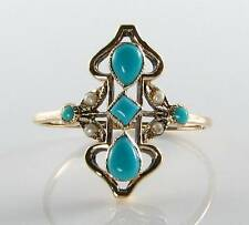 LOVELY LONG VICTORIAN INS 9CT 9K  GOLD TURQUOISE & PEARL RING FREE RESIZE