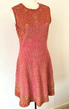 NWD M MISSONI Geometric Jacquard Pink/Gold Metallic Dress Size 42, 6