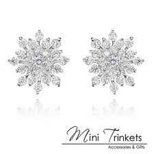 Silver Rhinestone Gem Crystal Snowflake Flower Stud Earrings Gift Valentines