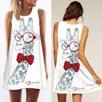 Frauen Dame Mode Tank Top Minikleid Floral Party Lose Tunika Shirt