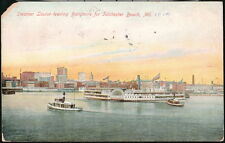 BALTIMORE MD Harbor Steamer Louise to Tolcherster Beach Vintage Postcard Old