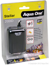 Aqua One Stellar 200D Air Pump 2x100L/h for Aquariums, Marine Tanks, Reptiles