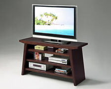 32''H MODERN DESIGN WOOD TV STAND WITHTAMPERED GLASS TOP-DARK BROWN CHERRY-ASDI