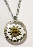 pendentif chaîne ancien bijou vintage couleur argent verre gravé fleur  674