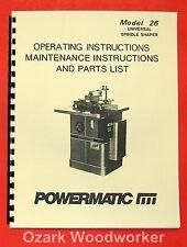 POWERMATIC 26 Shaper Instructions & Part Owner's Manual 0549