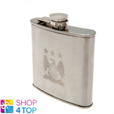 MANCHESTER CITY FC HIP FLASK CHROME EMBOSSED CREST BOX FOOTBALL SOCCER CLUB TEAM