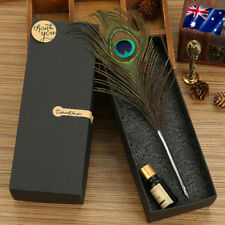Peacock Feather Quill Dip Pen Ink Set Handle With Gift Box NEW Handicraft AU