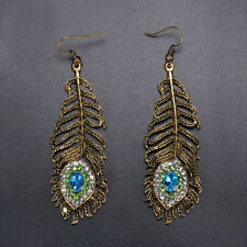 Women Vintage Rhinestone Peacock Eye Feather Metal Dangle Hook Earrings Gift Hot
