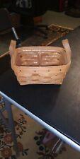 "1987 Longaberger Basket Rectangle Double Leather Handles Plastic Liner 7"" x 5"""