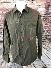 ETZO MEN'S COTTON EMBROIDERED PATCHED LONG SLEEVE MILITARY STYLE SHIRT SIZE XL