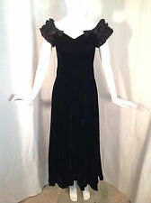 Vintage Style 40's Black Velvet Dress With Satin Ruffle Cap Sleeves Bows Sz 6