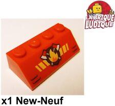 Lego - 1x slope decorated brique pente 45° Fire feu pompier hache 3037pb048 NEUF