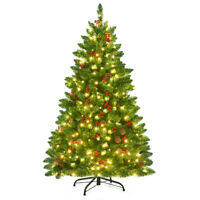 4.5Ft Pre-lit Hinged Christmas Tree w/ Pine Cones Red Berries and 300 LED Lights