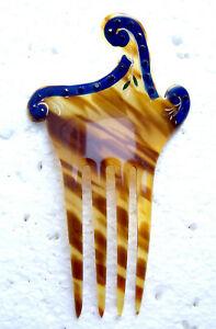Asymmetric design hair comb blue rhinestone trim hair slide