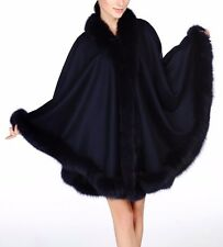Navy Blue Cashmere Cape Wrap Shawl with Fox Fur Trim New