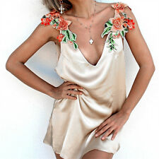 Sexy Womens Ladies Summer Blouse Floral Embroidery Tops Strap V-Neck Short Dress
