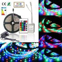 LED Stripe Streifen RGB 3528 5m 10m Leiste Lichterkette Netzteil Fernbedienung