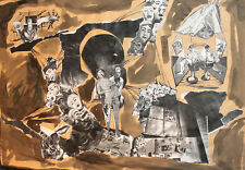 Vintage surrealist ink/collage painting theater scene design