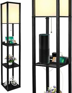New! 3-in-1, 3-Tiered Shelf Floor LED Lamp - 2 USB Ports, 1 Power Outlet - Black
