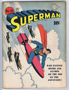Superman #18 DC Pub 1942 CLASSIC Fred Ray War COVER ! BOOK IS NOT IN CGC HOLDER.