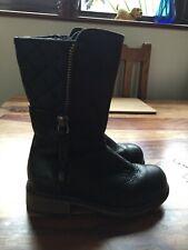 Clarks Girls Black Leather Boots Kelpie Heidi Kids Infant UK Size 7.5 G