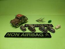 MULTIPLE CITROEN ITEMS - TIN CARS - METAL SIGNS - PLASTIC - 4x AUTOSCULPT - VG