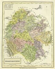 County MAP of HEREFORDShire by Sidney Hall 1830 Original engraved hand colour