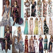 Womens Boho Floral Long Maxi Dress Ladies Summer Holiday Party Beach Swing Dress