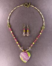 Heartfelt! Queen Honey Bee Necklace Earrings Druzy Agate Heart Pendant Bumble