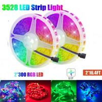 10M RGB LED Strip Lights 3528 SMD 2x300LEDs Non-waterproof For Home Car Decor