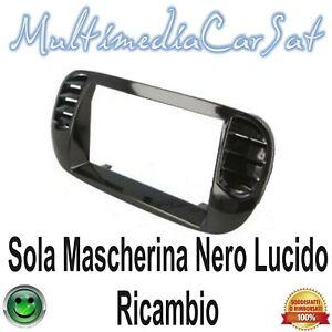 Mascherina Cambio Autoradio Nero Lucido 2 Din Fiat 500 - Ricambio 3578 R