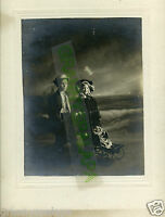 "Antique Photo - Adorable Boy & Girl, Dressed as Adults, Baby in Buggy - 14""x11"""