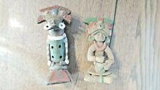 2 Statuettes en terre cuite. Flûte Mexique Maya Machu Picchu. Vintage