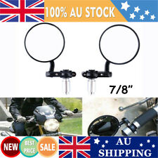 """2pcs Motorcycle Bar End Mirrors Round Rearview Side 7/8"""" Aluminum Universal AU"""