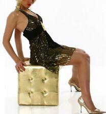 Sexy Damen Neckholder Schlange Mini Kleid Glitzer Dress 34/36/38 Schwarz Gold