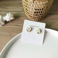 silver needle flower earring white earring