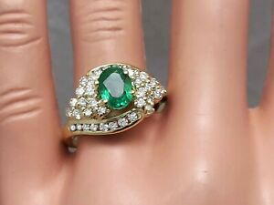 2.50Ct Genuine Natural Emerald And Diamond Ring In Solid 18K Yellow Gold, Oval