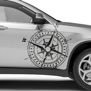 Auto Aufkleber Grunge Kompass Destroyed Windrose Offroad Sticker Dekor #1419-60