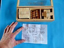 Ancien Casses Tête Chinois Bois Vintage Jeu Jouet Bloc Cube
