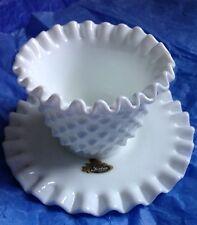 Vintage Fenton Hobnail White Milk Glass Condiment Bowl and Saucer With Original