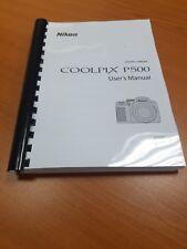 Cámara Nikon Coolpix P500 completamente Impreso Guía del usuario de instrucciones 252 páginas A5