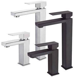 Black Bathroom Sink Counter Tap Basin Mixer Tall Square Mono Faucet Lead Free