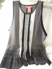 Catherine MaLandrino Ladies Knit Shirt Blouse Sleeveless ~ Black & White Size XL