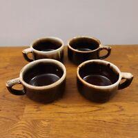VTG Lot of 4 Pfaltzgraff Gourmet Brown Drip Flat Coffee Cup/Mugs EUC