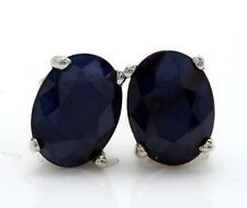 5.12 Carat Natural Blue Sapphire in 14K Solid White Gold Stud Earrings