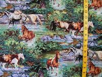 SCENIC HORSE PRINT ENDLESS SUMMER WILD WINGS 100% COTTON FABRIC  BY THE 1/2 YARD